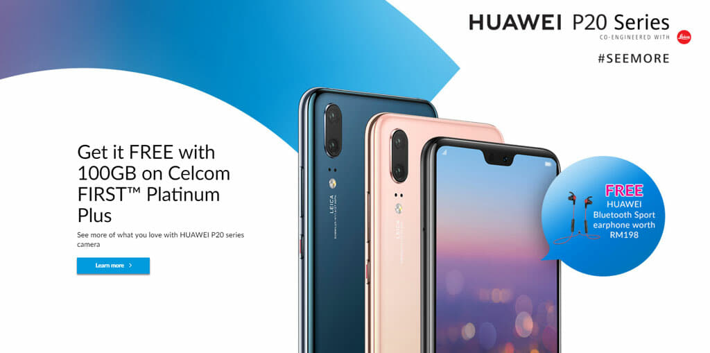 Celcom offers the Huawei P20 for free with its FIRST