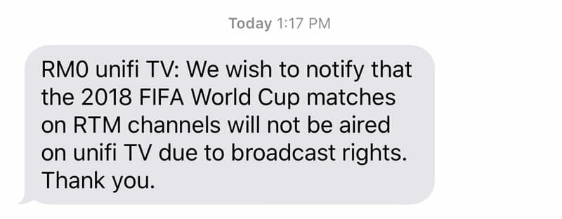 TM: Sorry, no 2018 FIFA World Cup broadcast on Unifi TV