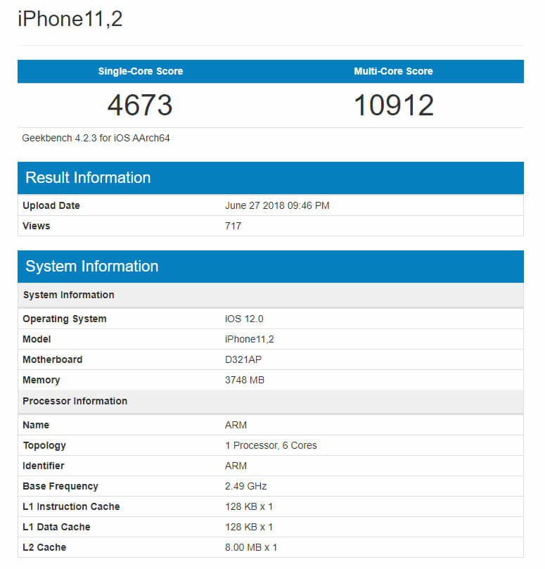iPhone X 2018 with Apple A12 chip appears on Geekbench