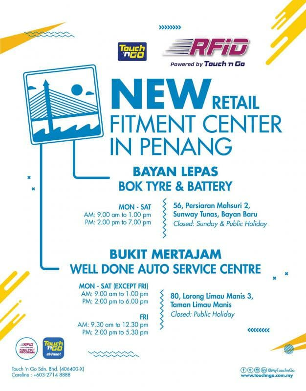 Touch n Go Penang fitment