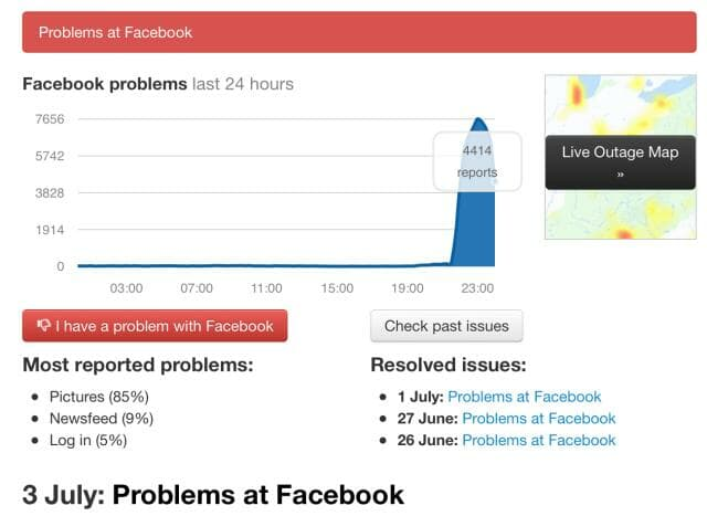 Facebook down outage