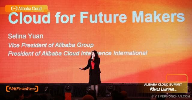 Selina Yuan, VP of Alibaba Group on stage during the Alibaba Cloud Summit in Kuala Lumpur recently