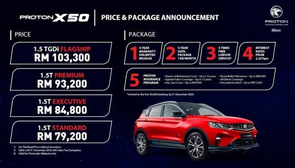 Proton X50 pricing and packages