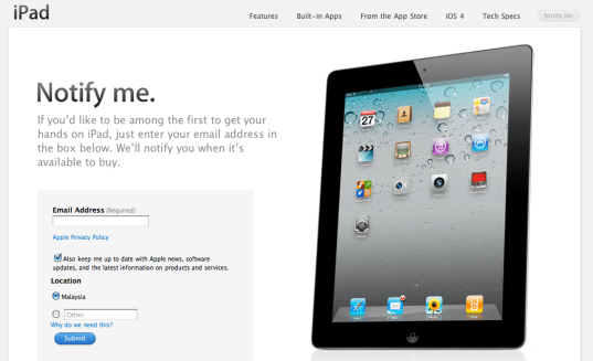 iPad 2 Register Your Interest