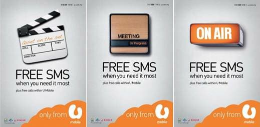 U Mobile's brand new prepaid offering now comes with free on-net SMS along with free calls from one U Mobile to another U Mobile number.