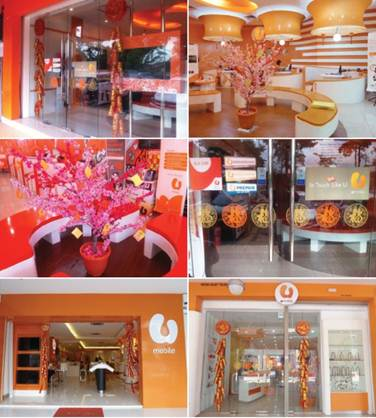 Many U Mobile stores were beautifully decorated to anticipate the coming of Chinese New Year.