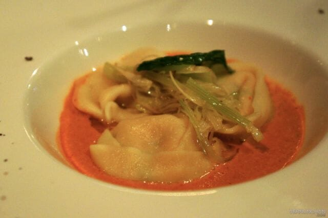 Ravioli filled with Alaska Crab in Lobster Bisque.